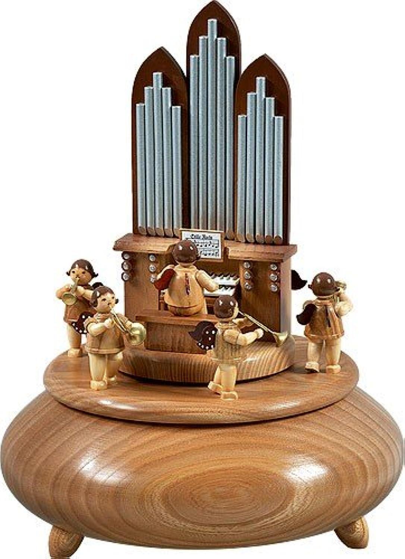 Spieldose Orgel mit Engel 6 Blser natur d = 22 cm NEU Spieluhr Musikdose Erzgebirge Holz