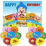 Payaso - Decoración de cumpleaños Plim Ballons Plim telón de fondo para fotografía (2020945plim, 7 x 5 pies+21 bolones)