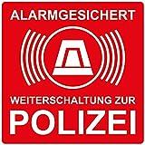 10 Stück Aufkleber Alarmgesichert Weiterleitung zur Polizei, rot, selbstklebend, kratz und Wetterfest
