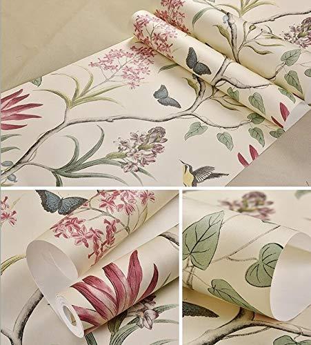 kengbi Leicht, beliebte dauerhafte Tapeten zu dekorieren Pastoral-landwirtschaftliche Blumen Brids Wallpaper Wandbilder Schöne Schmetterlingsblument Tapeten Home Decor 3D Papier Peint