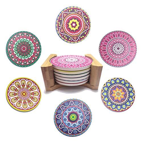 Rund Untersetzer für Gläser Tassen - 6stk Set Glasuntersetzer mit Bambus Halter, Boho-Stil 10cm Getränkeuntersetzer, Keramik Kerzenuntersetzer, Bunt Mandala Coaster Tischdeko Cocktails