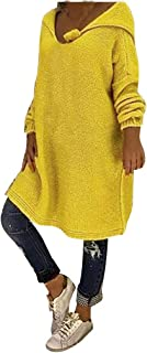 GOWOM Fashion Women Sweater O-Neck Hooded Knitting Long Sleeve Sweater Tops