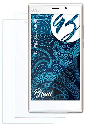 Bruni Schutzfolie kompatibel mit Wiko Ridge Fab 4G Folie, glasklare Bildschirmschutzfolie (2X)