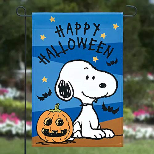 Jetmax Peanuts Snoopy Happy Halloween Flag Garden Flag,12' x 18'