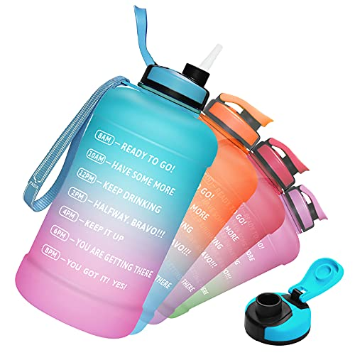PASER Half Gallon/64oz Water Bottle with Straw & Time Marker, Wide Mouth Leakproof BPA Free Sports Motivational Water Jug with Measurements to Ensure You Drink Enough Water (Included Straw Brush)