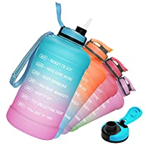 Limited-time deal: PASER Half Gallon/64oz Water Bottle with Straw & Time Marker, Wide Mouth Leakproof BPA Free Sports Motivational Water Jug with Measurements to Ensure You Drink Enough Water (Included Straw Brush)
