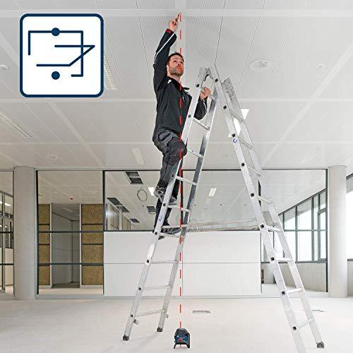 Bosch Professional Kreuzlinienlaser GCL 2-15 (roter Laser, Innenbereich, mit Lotpunkten, Arbeitsbereich: 15 m, 3x AA Batterien, Drehhalterung RM 1, Laserzieltafel, Schutztasche) - 3