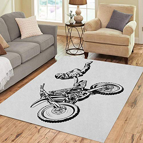 Marlon Kitty Area Rug Motocross Motorrad Sprung auf grauem Bike Dirt Freestyle Chopper Bodenteppich Teppich