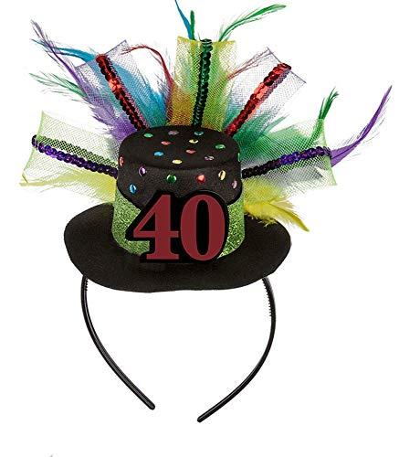 MIK Funshopping Haarreif mit Geburtstagshut mit Zahl, Federn und Glitter (40)