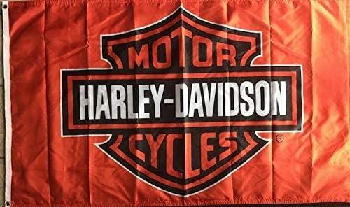 Gold Crest Harley Davidson Flag 2 Sided Oakland Mall Orange Free Shipping Cheap Bargain Gift 2x3