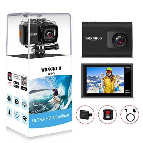 WONGKUO Upgraded Action Camera 4K 20MP Ultra HD WiFi Sport Camera with EIS 30m Waterproof Camera 170