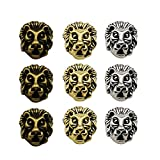 36pcs Antique Silver Bronze Gold Mixed Lion Head Loose Spacer Bead,Craft Supplies Charms Pendants for Jewelry Findings Making Accessory for DIY Bracelet Necklace (M195)