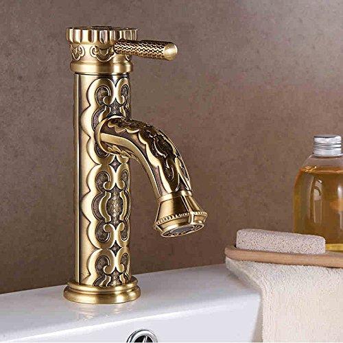 Electroplating Retro Faucet Grifo de baño de latón tallado antiguo europeo de galvanoplastia, grifo de lavabo de agua caliente y fría, grifo de una sola manija LA10128AAB, antiguo HIGT