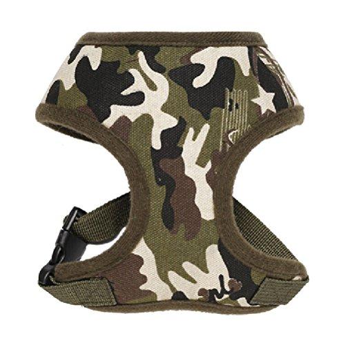 UEETEK Einstellbare Hundegeschirr Brustgeschirr weich Leinwand Hunde Haustier Geschirr Größe XS (Camouflage)