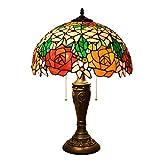 Lámparas Conjunto 40CM Tiffany lámpara de cristal lámpara de mesa lámpara de mesa de Rose del vitral de la sala de estar de la lámpara de noche