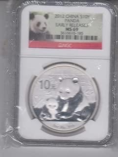 2012 CN China Silver Panda Coin Certified 10 yen MS69 NGC