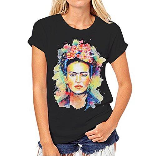 Camiseta para Mujer de Manga Corta Artista Mexicana Frida Kahlo Personalizada (Color : Black, Size : L)