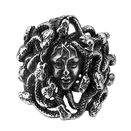 LILILEO Jewelry Stainless Steel Ring Silver Tone Black Greek Mythology Medusa Snake for Men's Rings