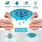 infinitoo Mini Drône UFO drône USB rechargebale pour Enfants et Adultes, Mini Quadcopter Drone de Poche Mouvement Main contrôlée Drone Flying Jouets (Bleu)