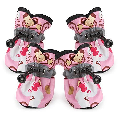 Gugutogo Giornata di Pioggia Antiscivolo con Scarpe da Pioggia per Cani Rosa n E