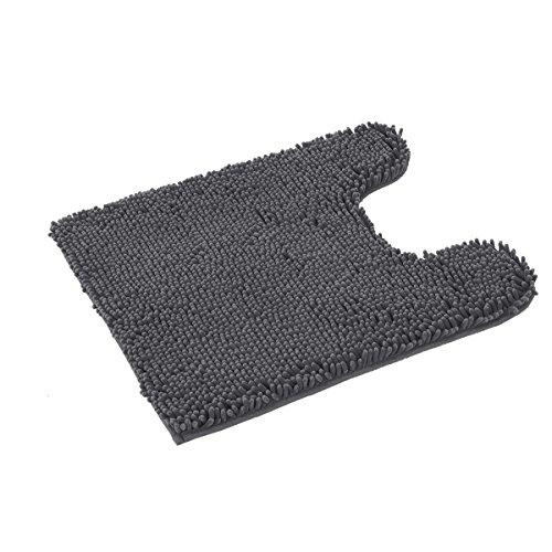 TREETONE Chenille Bath Mat Bathroom Rugs,21x24 Inchs U-Shape Contoured Toilet Mat, Machine Wash,Soft, Non Slip,Water Absorbent Plush Rugs for Tub Shower & Bath Room - Charcoal Gray