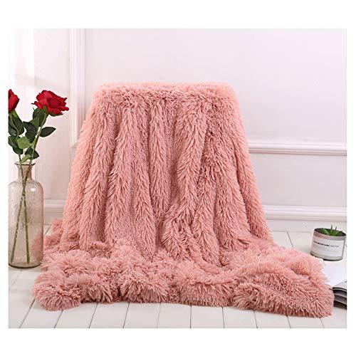 Hggzeg Überwurf, superweich, lang, zottelig, elegant, gemütlich, Kunstfell, dekorative Decke für Couch Stuhl & Bett, Fleece, Bohnenpulver, 130 x 160cm