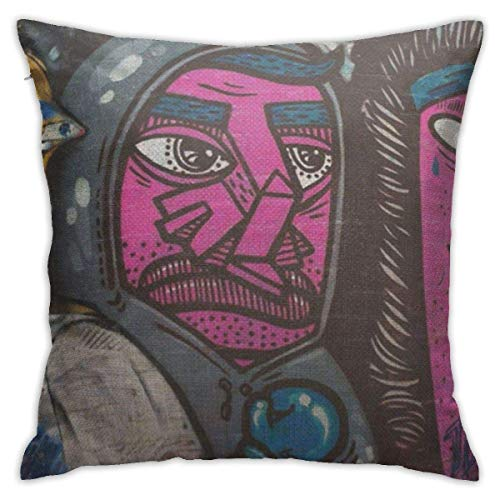 Yuanmeiju Throw Pillow Covers Throw Pillow Cases Purple Faces Street Grafitti Cool