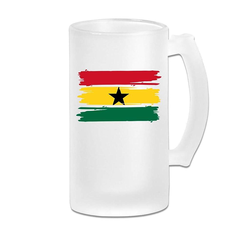Ghana Flag Frosted Glass Stein Beer Mug - Personalized Custom Pub Mug - 16 Oz Beverage Mug - Gift For Your Favorite Beer Drinker