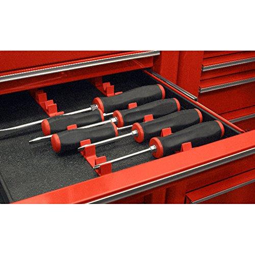 Ernst Manufacturing No-Slip Low-Profile Screwdriver Rail Set, 14 Tool, Red