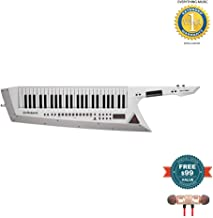Roland AX-Edge 49-Key Keytar Synthesizer White (AX-EDGE-W) includes Free Wireless Earbuds - Stereo Bluetooth In-ear and 1 Year Everything Music Extended Warranty