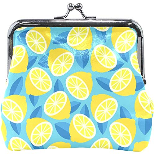 Portefeuille zomer gele citroen citrus blauw munt portemonnee zak leder wisselhouder kaart clutch handtas