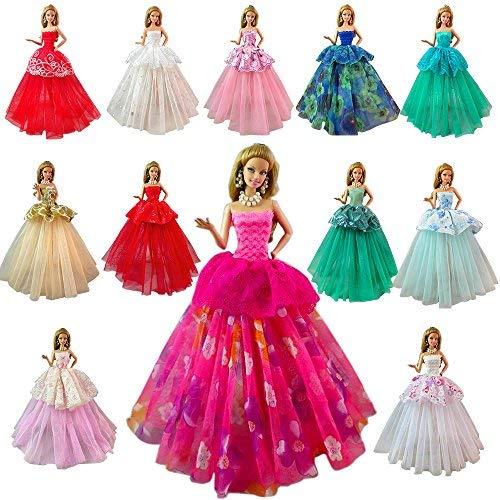 barbie vestiti da sera Miunana 7 Abiti Vestiti Grandi da Sposa Festa per 11.5 Pollici 28 - 30 cm Bambola per Regalo 2021 Stili Nuovi