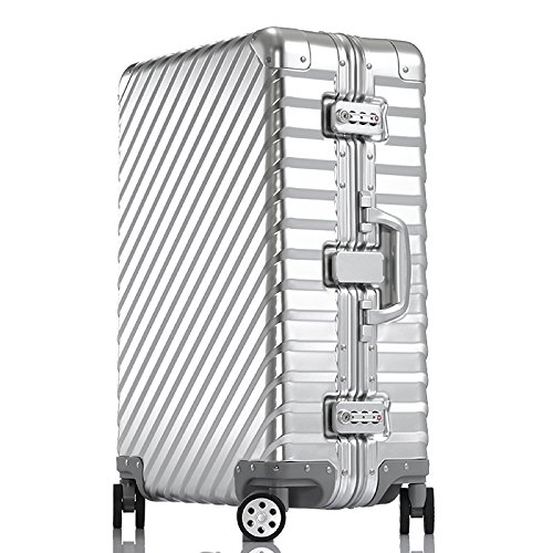 Enkloze KLASIK Aluminum Carry-On Suitcase - Spinner 100% Aluminum TSA Approved (Carry On - 20', Silver)