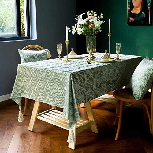 Vekja - Mantel de algodón y lino sin arrugas, resistente al agua, mantel rectangular con borlas, lavable para cocina, comedor, decoración (verde, 135 x 135 cm)