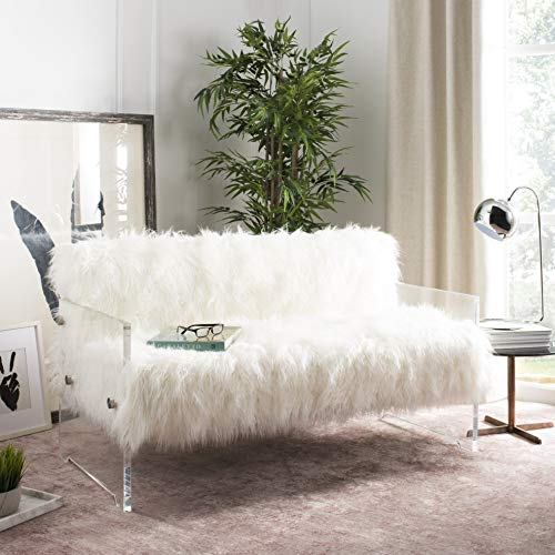 Safavieh Couture Home Sybel Glam White Faux Sheepskin and Clear Lucite Settee
