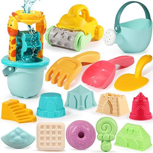 GeyiieTOYS Strandspielzeug Set, 22 Stück Sandspielset Sandförmchen Sand und Wasser Spielzeug für Kinder Jungen und Mädchen ab 2 Jahre