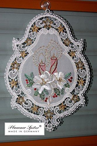 Plauener Spitze Fensterbild 20x26 cm + Saugnapf Weihnachten Stickerei Kerzen Spitzenbild
