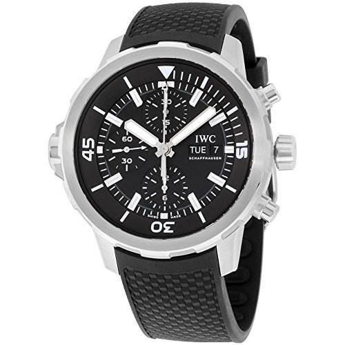 IWC MEN'S AQUATIMER 44MM BLACK RUBBER BAND STEEL CASE AUTOMATIC WATCH...