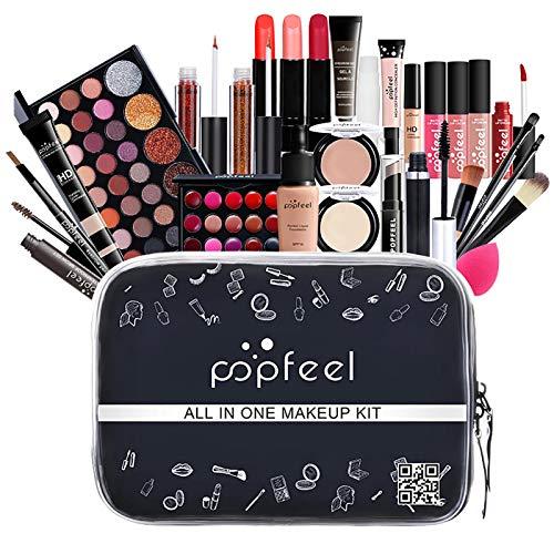 27 Stück Make Up Set für Teenager-Mädchen, Aktualisiert Makeup Set Schminke Set Professionelle Schmink Geschenkset für Anfänger, 4 Pinsel + 3 Lipgloss + Lidschatten + Andere