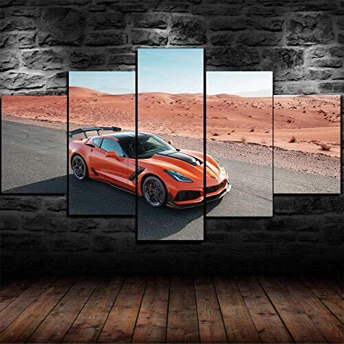 Airxcn 5 Panel Leinwand Wandkunst Home Wohnzimmer Dekor Poster HD-Druck Chevrolet Corvette zr1 Supercar