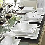 MALACASA, Serie Carina, 60 tlg. Cremeweiß Porzellan Geschirrset Kombiservice Tafelservice mit je 12 Kaffeetassen, 12 Untertassen, 12 Dessertteller, 12 Suppenteller und 12 Flachteller - 9