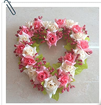 Home Decorations Handmade Natural Wall Hanging Silk Floral Wreath Heart-shape Garland for Wedding