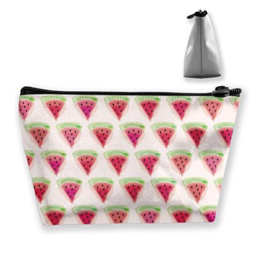 Niedliche Wassermelonen-Schnittmuster Frauen Kosmetiktaschen Multifunktions-Toilettenartikel-Organizer-Taschen, tragbarer Beutel Reisewasch-Speicherkapazität mit Reißverschluss (trapezförmig)