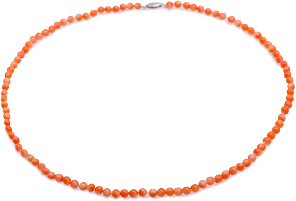 JYX Coral Necklace 4-5mm Tiny Orange Pink Round Coral Beads Single-strand Necklace 20