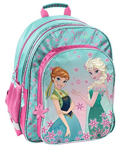 Disney Frozen - Die Eiskönigin ELSA Anna Olaf Rucksack Kinderrucksack (DFV) mit Hauptfach, Nebenfach und Frontfach, incl. Getränkenetz, 38 x 29 x 20 cm, blau/rosa