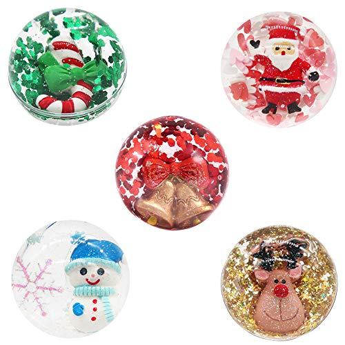 SWZY 5 Piezas Navidad muñeco de Nieve Ciervo Bola de Cristal Arcilla de Limo plastilina Campana de Navidad Bola de Cristal Barro DIY antiestrés Juguete para niños para niños Vacaciones Fiesta