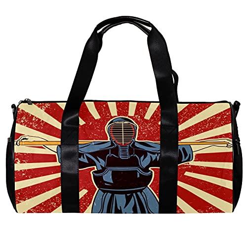 Borsone per donne e uomini giapponesi Kendo Spada arti marziali combattenti sport palestra Tote bag weekend viaggio viaggio borsa all'aperto