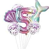 Haosell Palloncino a forma di sirena 5 anni, decorazione per feste di compleanno per bambini, multicolore, 1 palloncino XXL a forma di sirena, con numero 5 palloncini