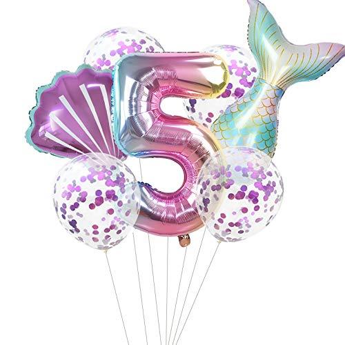 Haosell Globo de sirena grande para 5 años, decoración de cumpleaños infantil, multicolor, 1 globo de sirena XXL + número 5 números + 1 cuenco + 4 globos de confeti