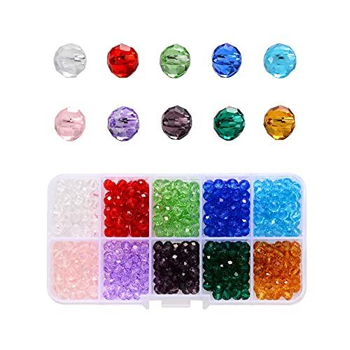Dtaeye Cristalli per Bigiotteria 500 Pezzi Perline per Collane Kit Perline Perle per Bigiotteria Fai Da Te Perline di Vetro Perline Pietre e Cristalli per Gioielli Perline Cristallo Sfaccettato